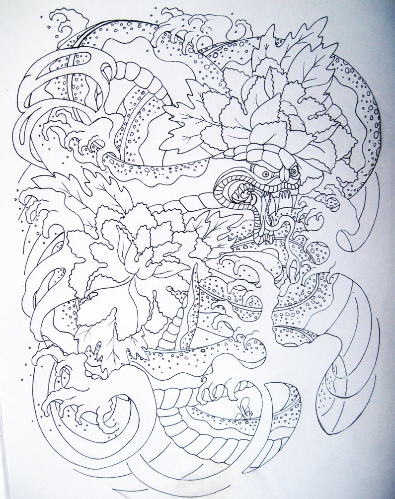 uncolored japanese snake and peonies tattoo design by skelos. Black Bedroom Furniture Sets. Home Design Ideas