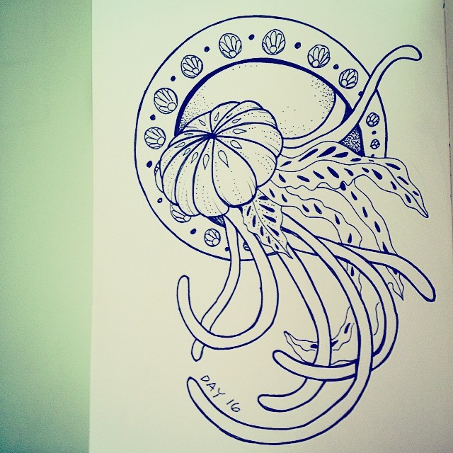 Uncolored jellyfish on flower print circle tattoo design
