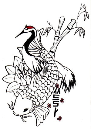 Uncolored koi fish and stork with bamboo growings tattoo design