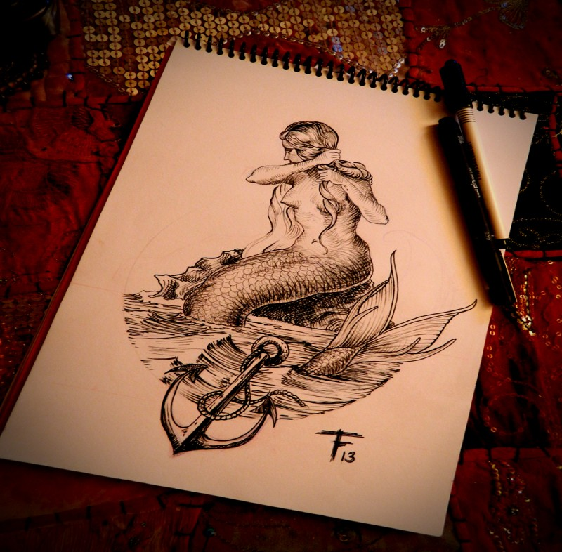Uncolored mermaid sitting on the shore and wringing her hair tattoo design
