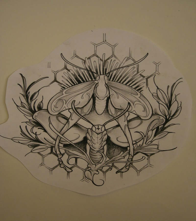 Uncolored moth with herbal branches tattoo design by The Orchid Snatcher