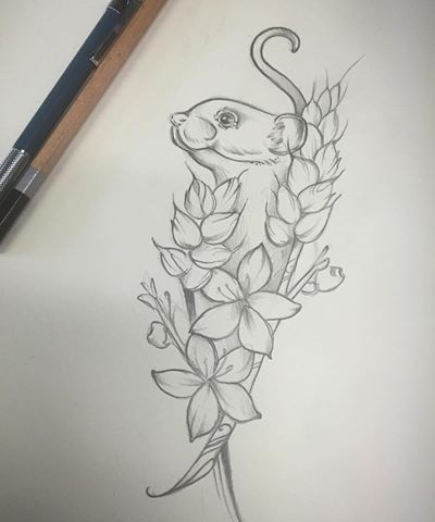 Uncolored mouse hiding behind wheatear and flowers tattoo design