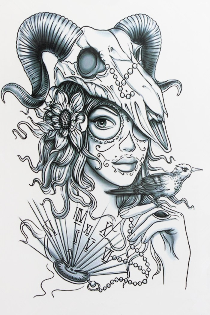 Uncolored Muerte Girl With Ram Skull And Other Elements