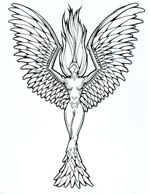 Uncolored naked girl with phoenix wings and tail tattoo design