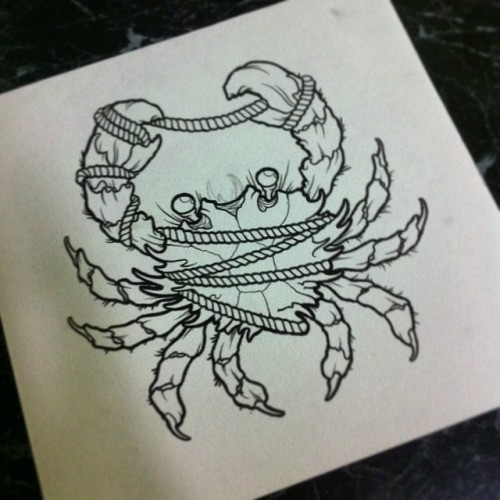 Uncolored ned school crab entwined with rope tattoo design