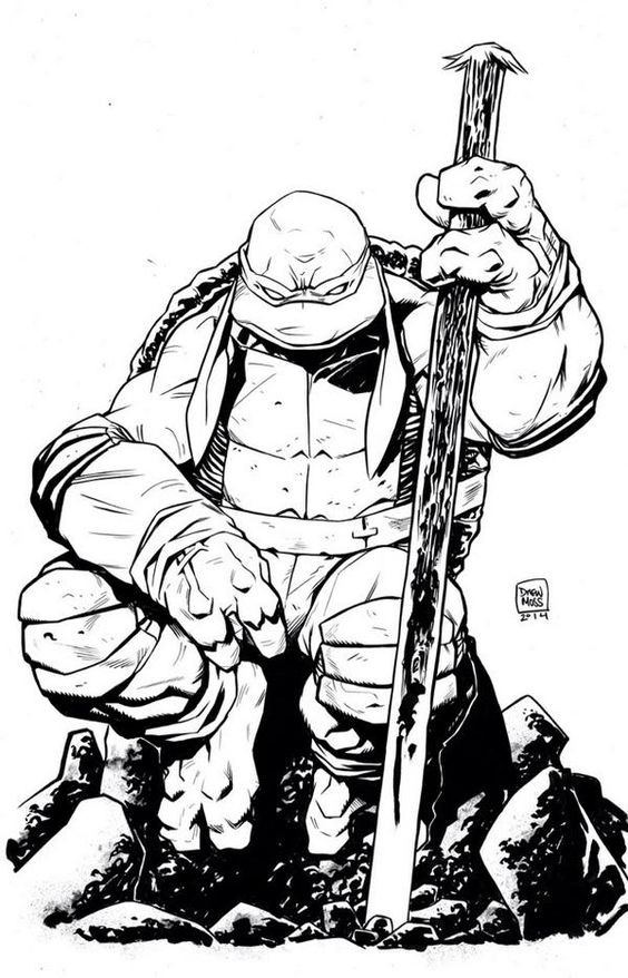 Uncolored ninja mutant turtle resting with his wooden stick tattoo design