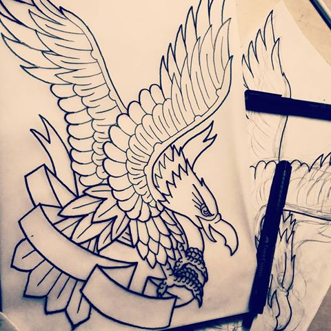 Uncolored old school eagle and empty free-quote ribbon tattoo design