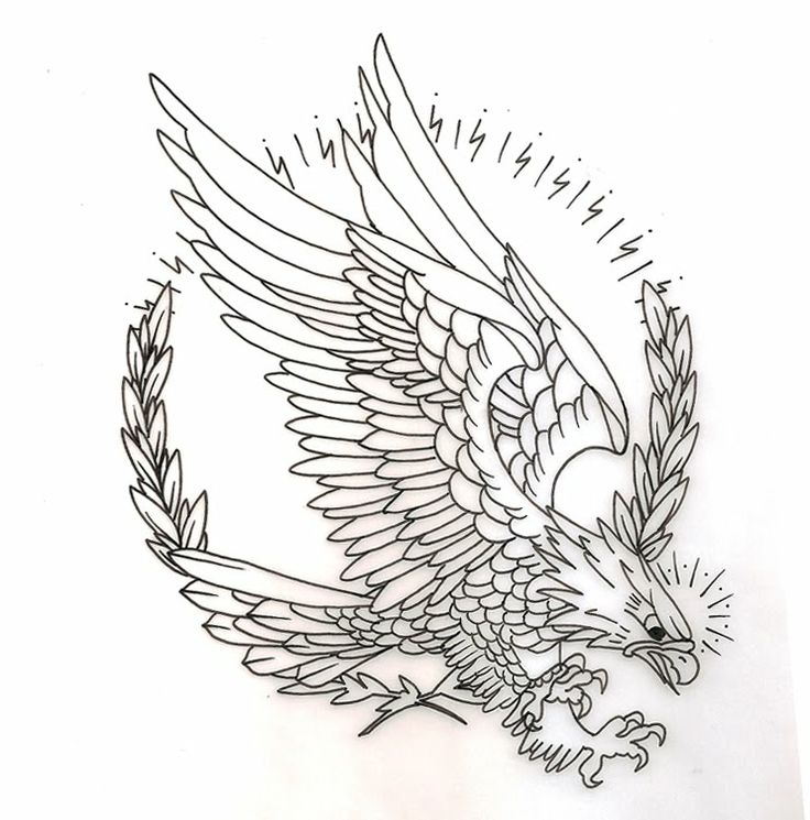 Uncolored Old School Eagle On Lightning And Leaves Wreath Background
