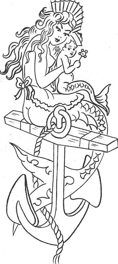 Uncolored old school mermaid and her child sitting on the anchor tattoo design