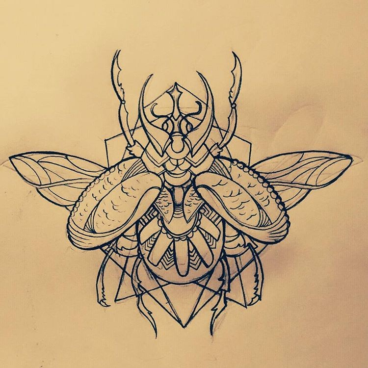 Uncolored open-winged flower-patterned bug tattoo design