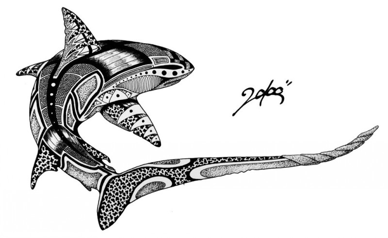 Uncolored ornate shark tattoo design by Marbleck