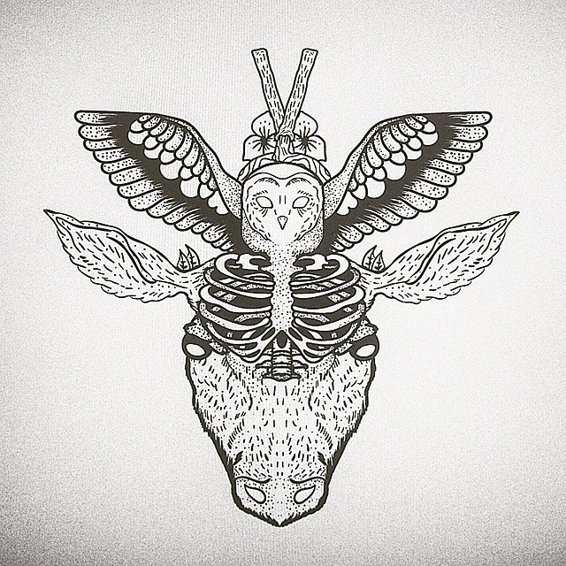 Uncolored owl with human skeleton chest and bull head tattoo design