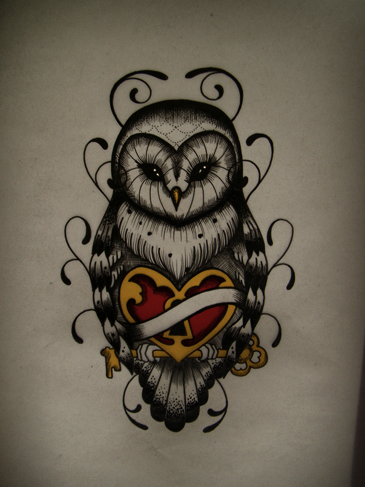 Uncolored owl with locked heart and a key tattoo design by Frah