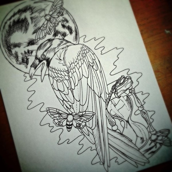 Uncolored Raven With Flying Butterflies And Fool Moon Tattoo Design