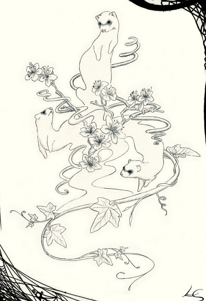 Uncolored rodents with cherry blossom and maple tree branches tattoo design by Tricksters Shadow