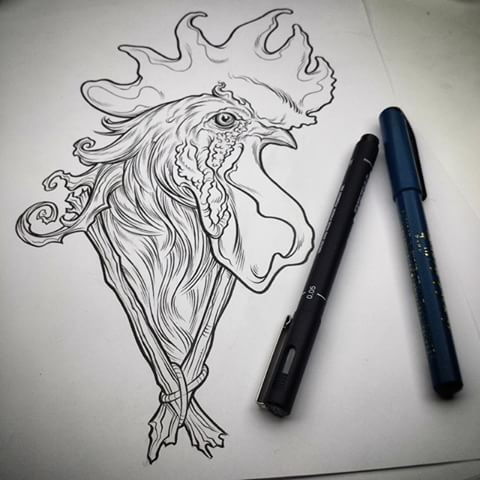 Uncolored rooster head with wooden branches tattoo design