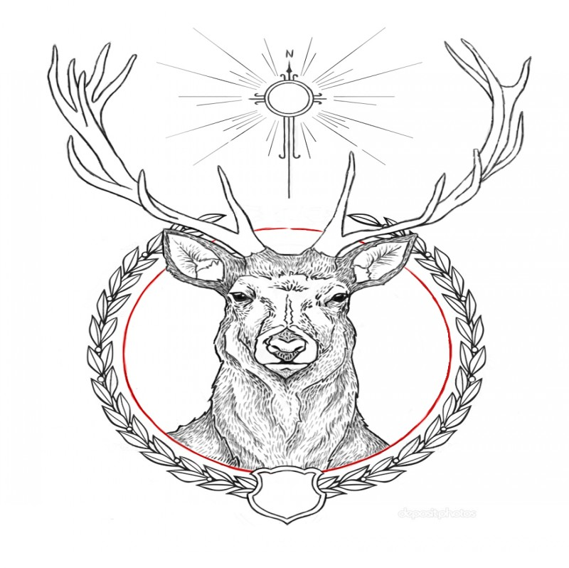 uncolored saint deer tattoo design by catty wampus. Black Bedroom Furniture Sets. Home Design Ideas