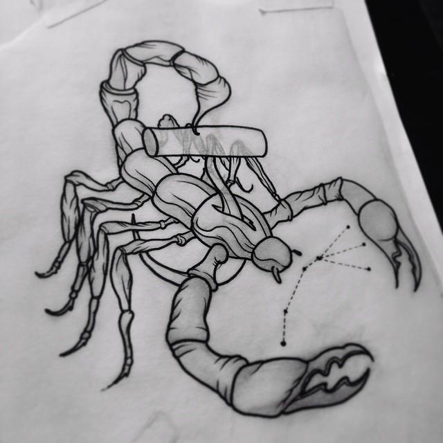 Uncolored scorpion and star symbol tattoo design