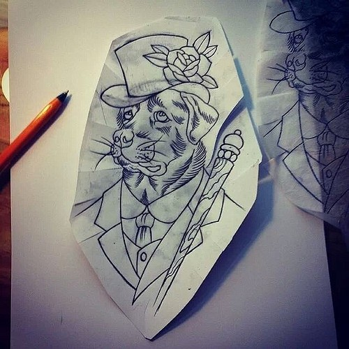 Uncolored sir dog in suit and high hat with wooden stick tattoo design
