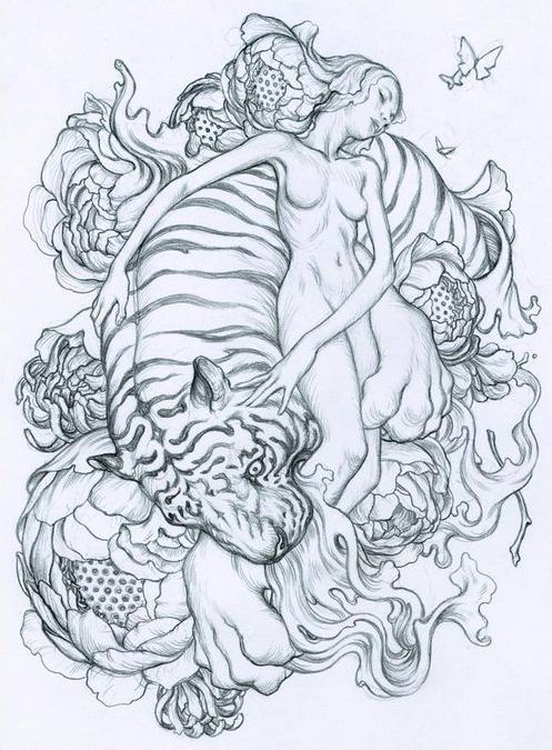 Uncolored tiger bitting naked girl tattoo design