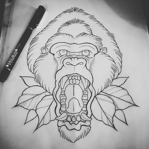 Uncolored traditional crying gorilla head with leaves tattoo design
