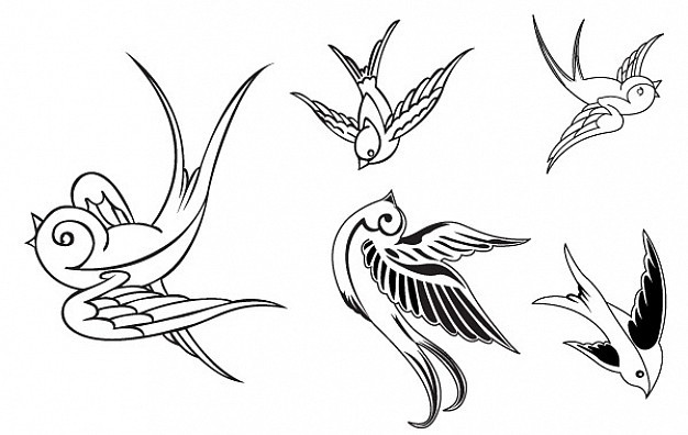 Uncolored vector sparrow tattoo design collection