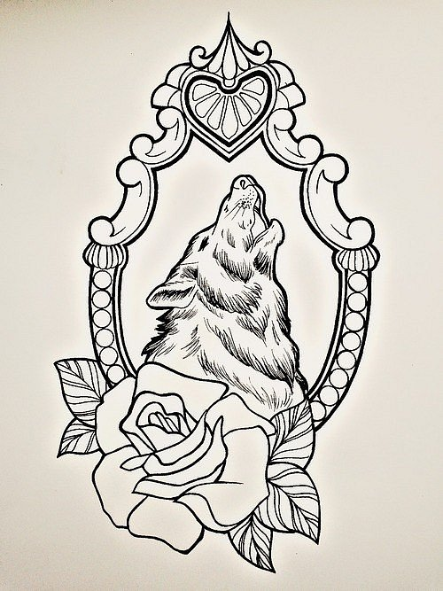 Uncolored wolf in mirror frame with rose tattoo design