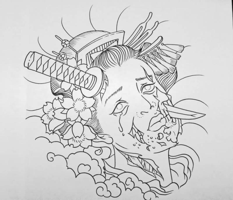 Cabeca De Gueixa De Zumbis Sem Cor Perfurada Com Um Desenho De