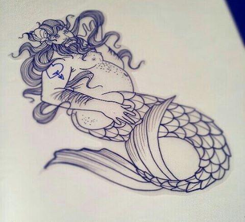 Unexpected fat tattooed man mermaid tattoo design