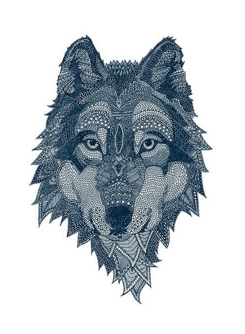 Unique-designed blue-color wolf portrait tattoo design