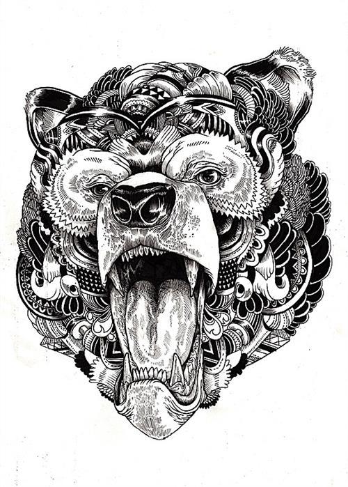 Bear Face Tattoo Stencil Page 1 Line 17qq Com 11