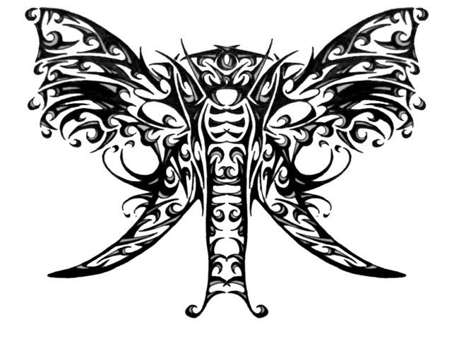 Unique black-and-grey butterfly-shaped elephant head tattoo design