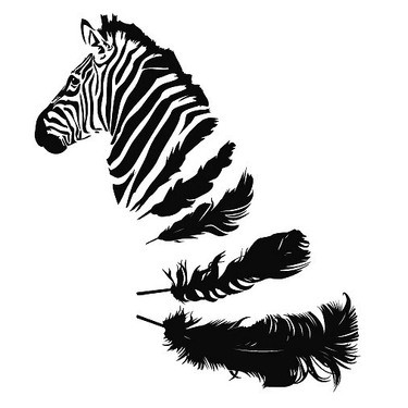 unique black ink zebra with feather stripes tattoo design. Black Bedroom Furniture Sets. Home Design Ideas