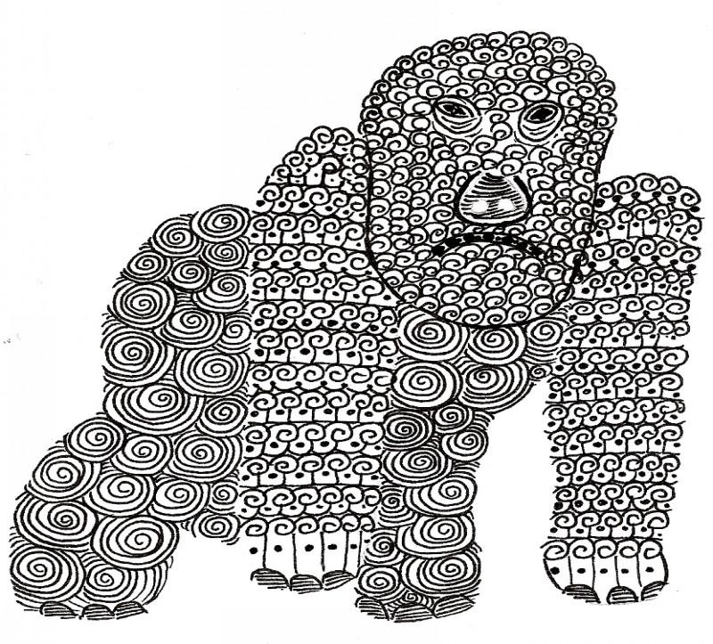 Unique black-line gorilla with curly ornament tattoo design