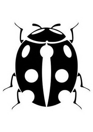 Unique black ladybug with white spots tattoo design
