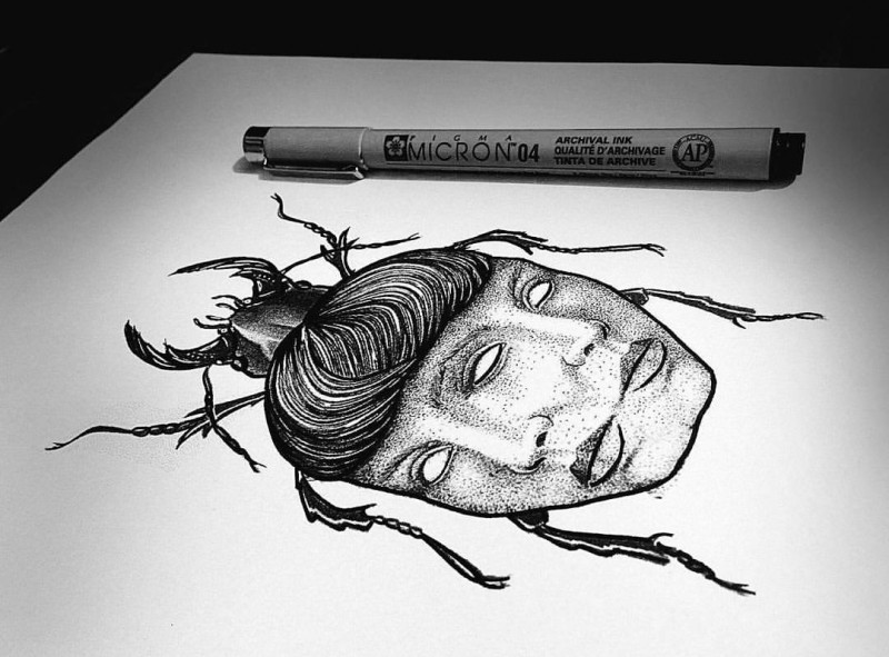 Unique dotwork bug with reflected woman face body tattoo design