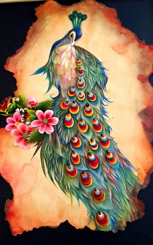 Unique feathered peacock sitting on blossom branch tattoo design