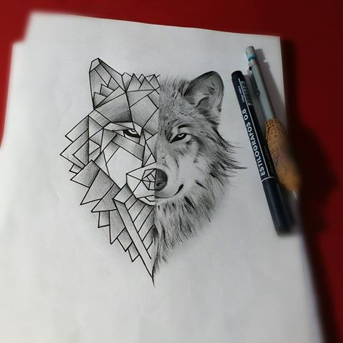 Unique Grey Pencil Half Geometric Wolf Tattoo Design