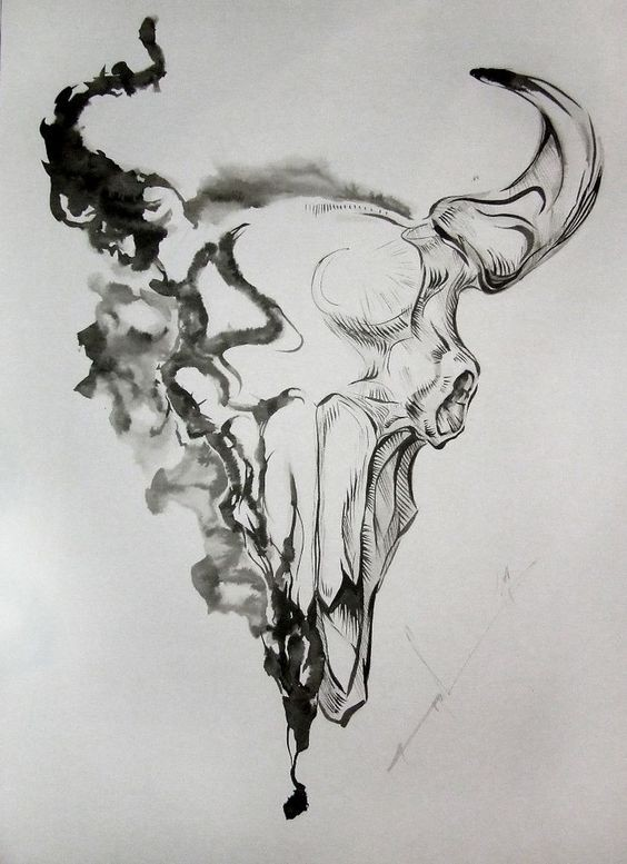 Unique grey half-smoke bull skull tattoo design