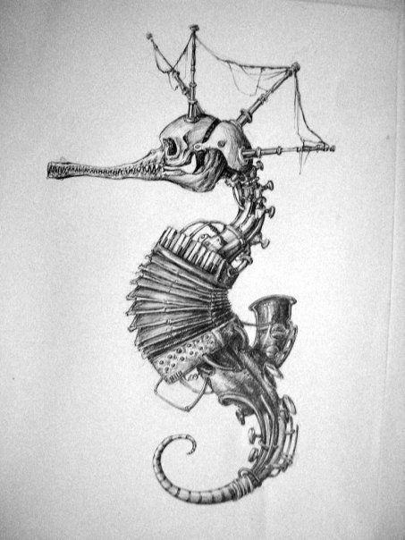 unique grey seahorse skeleton with accordion body tattoo design. Black Bedroom Furniture Sets. Home Design Ideas
