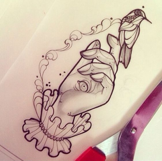 Unique illuminati hand and hummingbird on finger tattoo design
