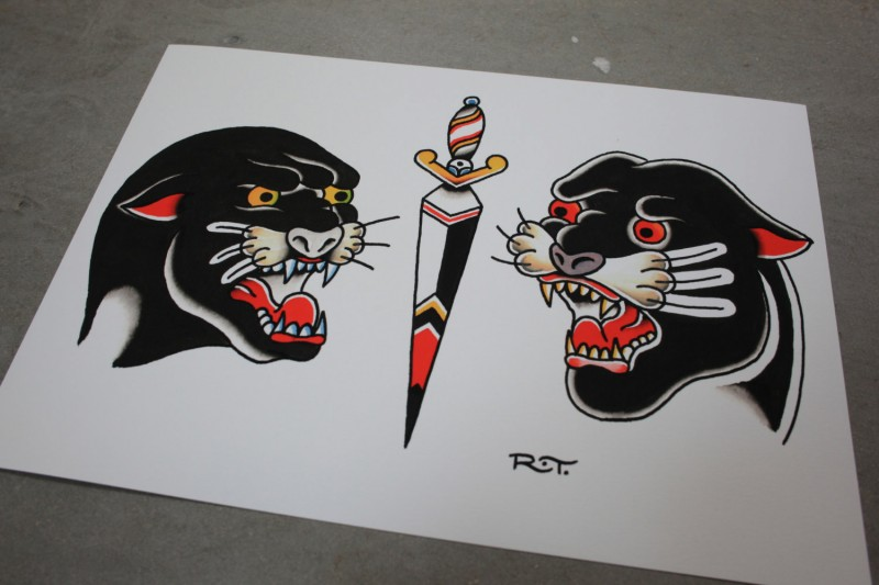 Unique old school panther heads separated with dagger tattoo design
