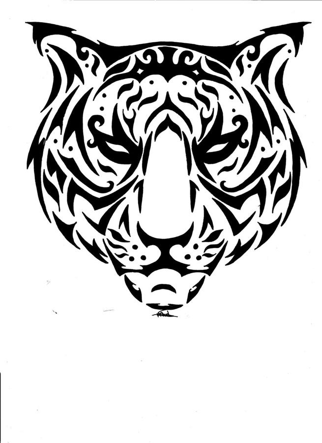 Unique tribal tiger muzzle tattoo design