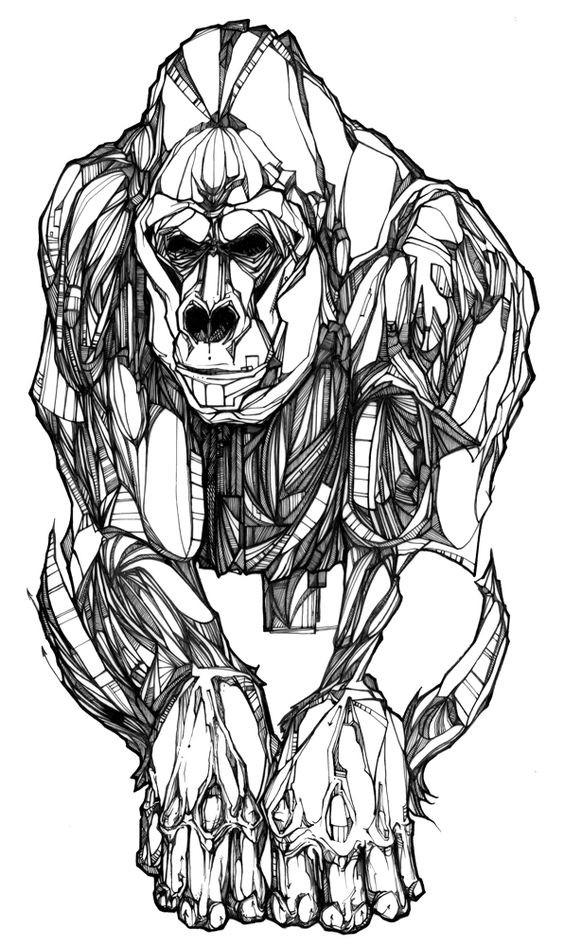 Unique uncolored gorilla in full-size tattoo design