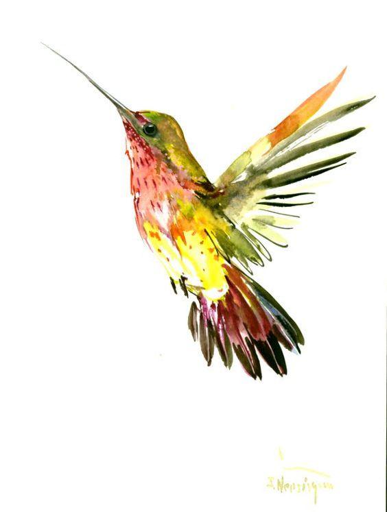 Unique watercolor rising hummingbird tattoo design