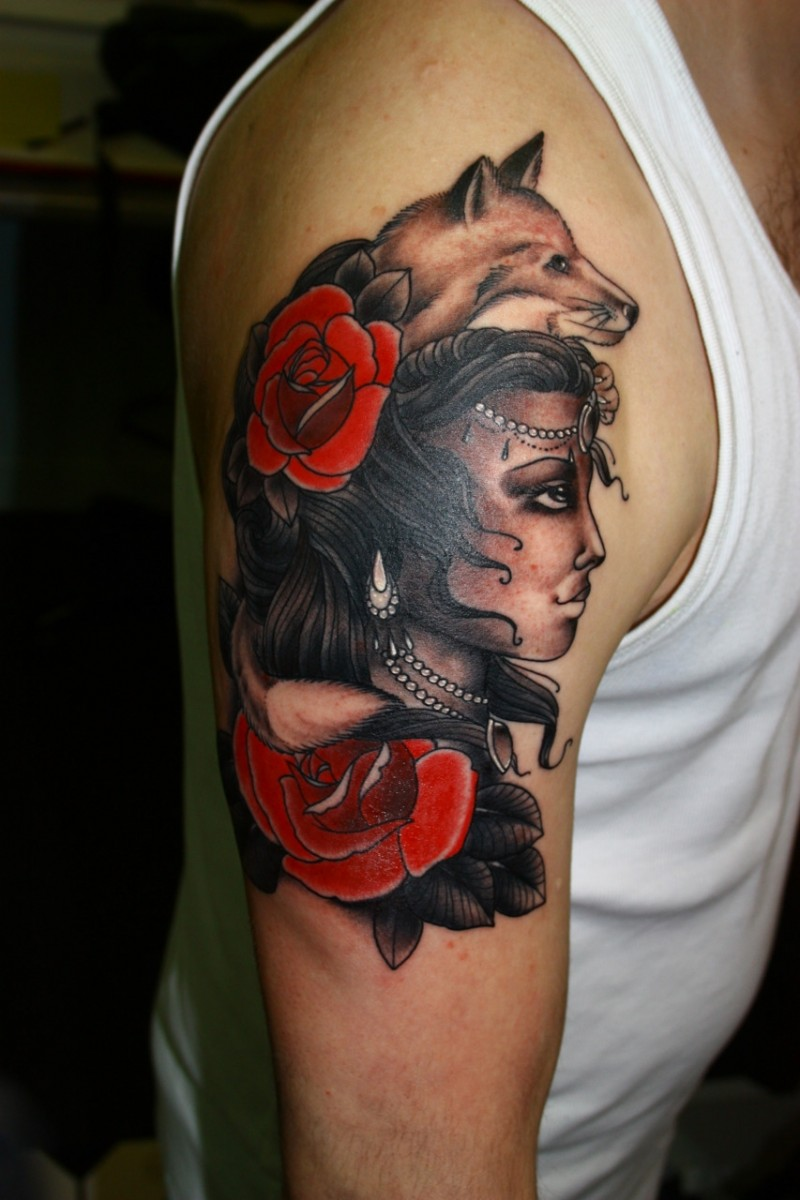 New school style colored shoulder tattoo of gypsy woman with flowers