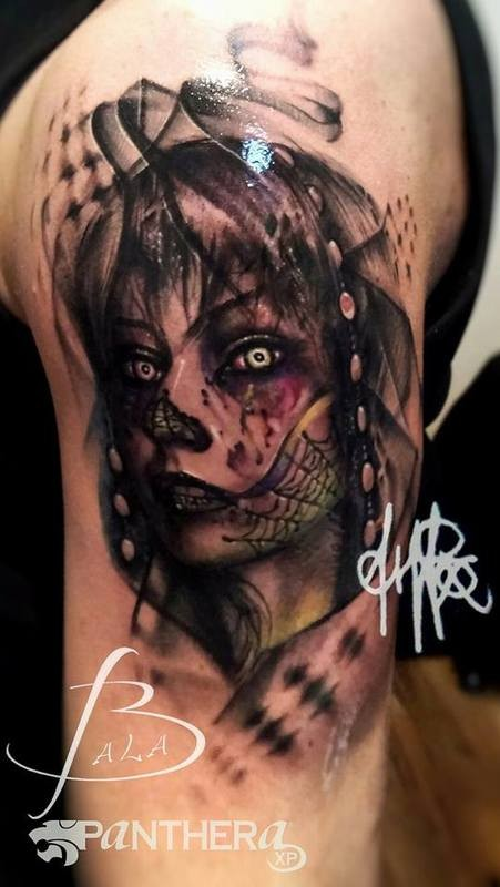 New school style colored shoulder tattoo of woman with web