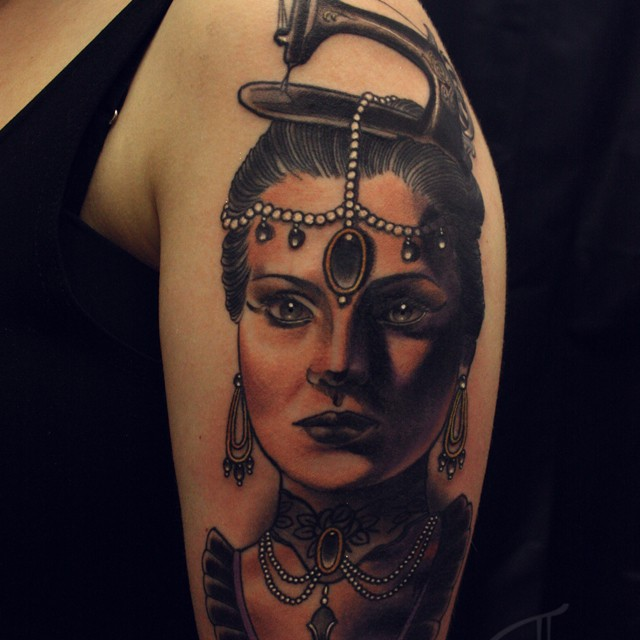 New school style colored shoulder tattoo of vintage woman portrait