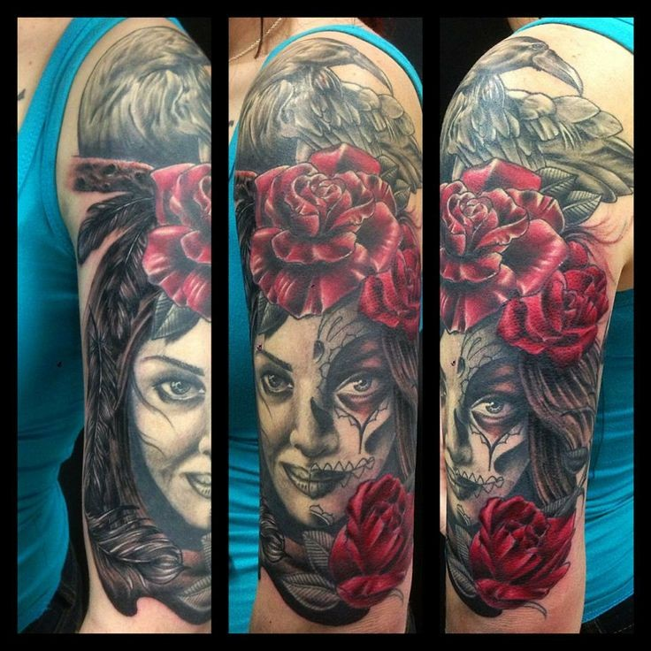 New school style colored shoulder tattoo of woman face with rose and crow
