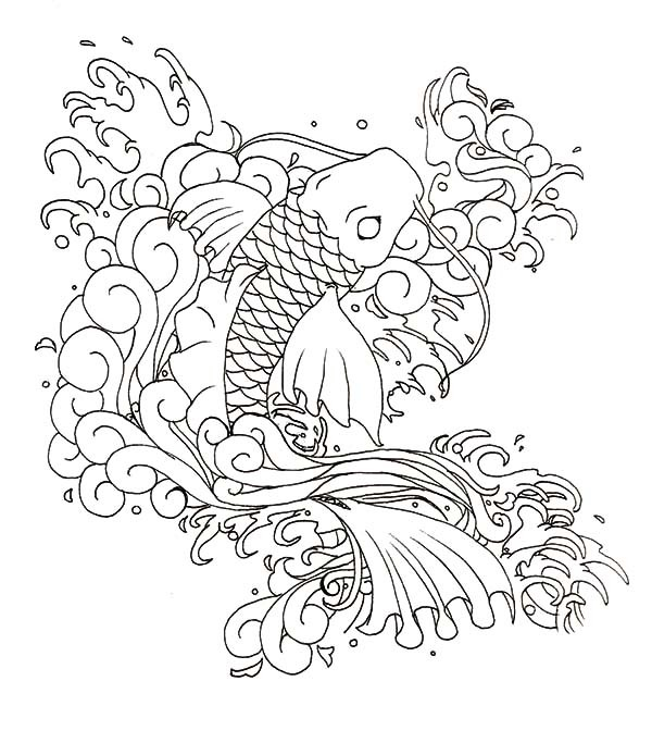 Unolored koi fish in storm water tattoo design